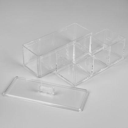 Органайзер для косметики с крышкой на 4 секции, 18 х 8,5 х 22,5 см