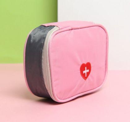 Аптечка дорожная, отдел на молнии, розовый, 14 х 10 х 5 см