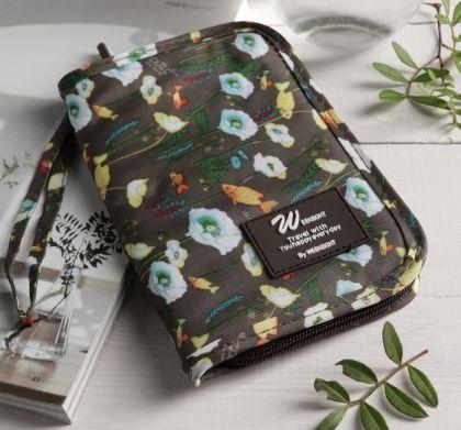 Туристический конверт-кошелек, отдел на молнии, коричневый, 12,5 х 1,5 х 18,5 см