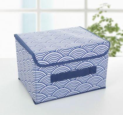 Короб для хранения с крышкой «Зыбь», синий, 26 х 20 х 16 см