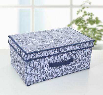 Короб для хранения с крышкой «Зыбь», синий, 45 х 30 х 20 см