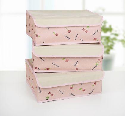 "Набор органайзеров для белья ""Вишенки"" 3 шт, розовый, 32 х 24 х 12 см"