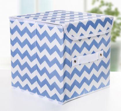 """Короб для хранения с крышкой """"Узор"""",синий, 25 х 25 х 25 см"""