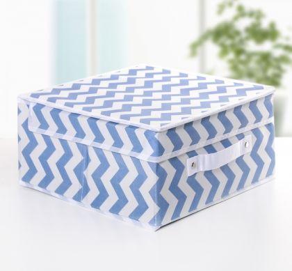 """Короб для хранения с крышкой """"Узор"""", синий, 30 х 30 х 12 см"""