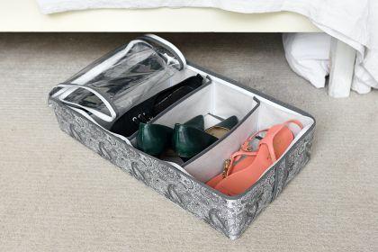 """Органайзер для обуви на 4 бокса """"Grey Flower"""", 51 х 25 х 12 см"""
