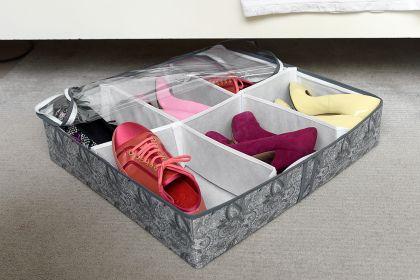 """Органайзер для обуви на 6 боксов """"Grey Flower"""", 55 х 55 х 12 см"""