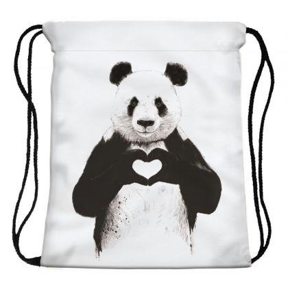 "Сумка-мешок для сменной обуви ""Panda heart"", 30 х 39 х 20 см"