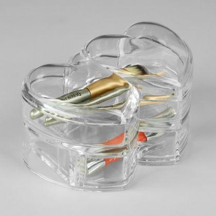 Акриловый органайзер для косметики, 2 секции, 16,2 х 10,5 х 10 см