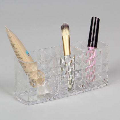 Акриловый органайзер для косметики, 3 секции, 18,7 х 8 х 6 см