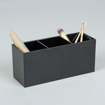 Органайзер для хранения косметики, 3 секции, черный, 19,8 х 8,8 х 7 см
