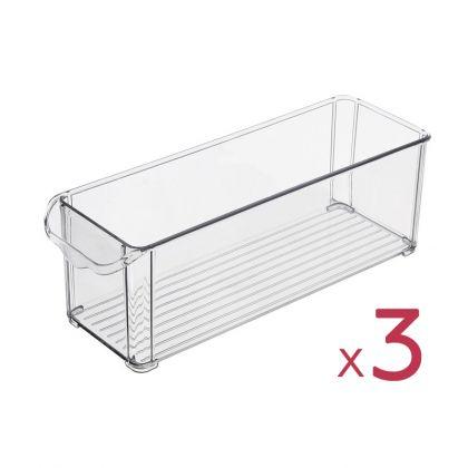"""Набор из 3х контейнеров для холодильника """"Снежинка"""", 30 х 10 х 10 см"""