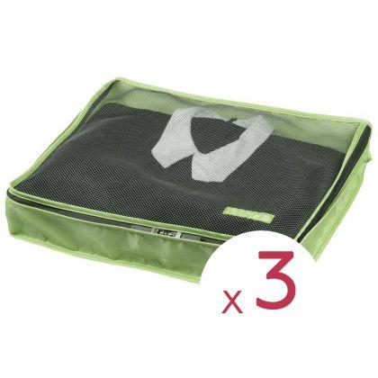 """Комплект из 3х чехлов для одежды """"Путешественник"""", зеленый, 45 х 35 х 8,5 см"""
