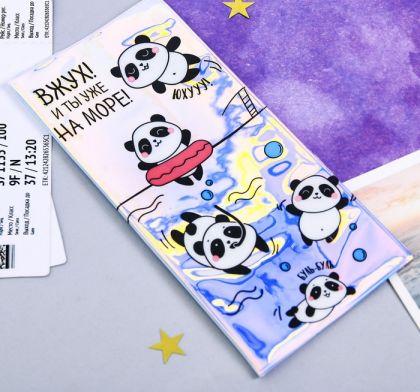 """Туристический конверт для документов """"Панда"""", 21,8 х 11 х 0,5 см"""