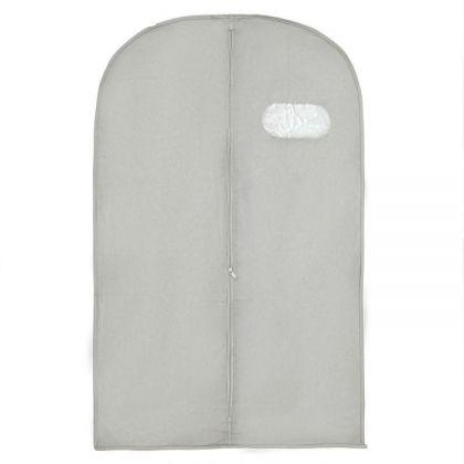 Чехол для одежды с окошком, серый, 140 х 60 см