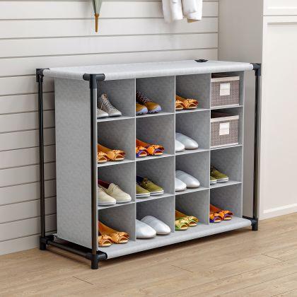 """Тканевый шкаф для обуви """"Брижит"""" на 4 полки, серый, 87 x 37 x 64 см"""