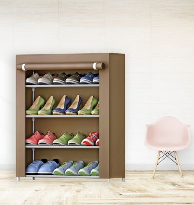 """Тканевый шкаф для обуви """"Грейс"""" на 4 полки, коричневый, 61 x 30 x 63 см"""