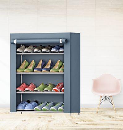 "Тканевый шкаф для обуви ""Грейс"" на 4 полки, серый, 61 x 30 x 63 см"