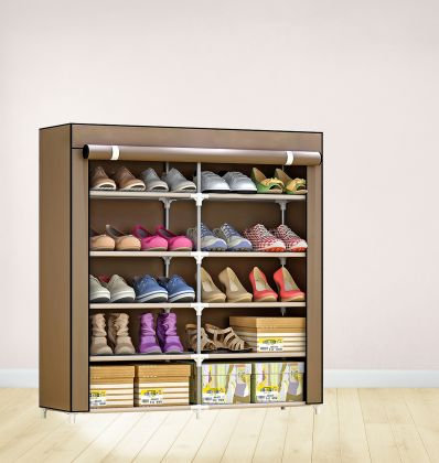 """Тканевый шкаф для обуви """"Одри"""" на 5 полок, коричневый, 90 x 30 x 90 см.."""
