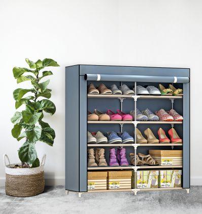 "Тканевый шкаф для обуви ""Одри"" на 5 полок, cерый, 90 x 30 x 90 см"
