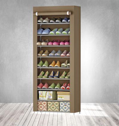 """Тканевый шкаф для обуви """"Эдит"""" на 9 полок, коричневый, 60 x 30 x 158 см"""