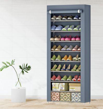 """Тканевый шкаф для обуви """"Эдит"""" на 9 полок, серый, 60 x 30 x 158 см"""