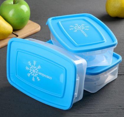 """Набор контейнеров """"Морозко"""" для замораживания продуктов, 0,7 л,  3 шт, 18,5 × 12 × 8,5 см"""