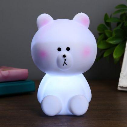 """Ночник """"Мишка"""", белый, 9,5 х 9,5 х 15 см"""