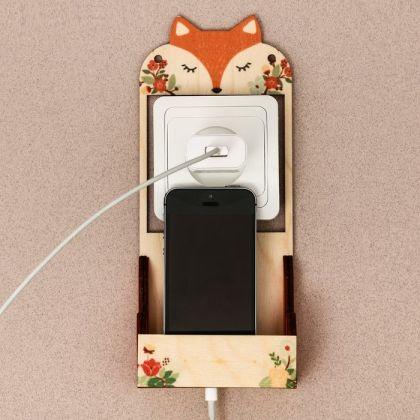 """Органайзер для телефона на розетку """"Лисичка"""", разноцветный, 10 × 4,8 × 23 см"""
