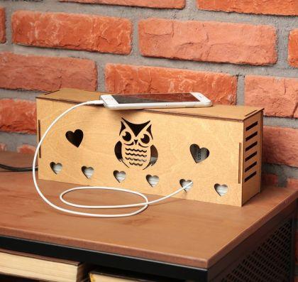"""Органайзер для проводов """"Сова"""", коричневый, 34 × 13 × 1,5 см"""
