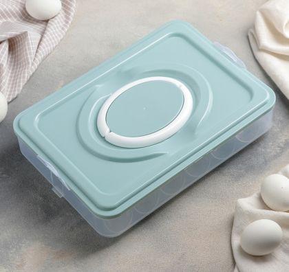 Контейнер для хранения яиц на 20 ячеек, голубой, 29 × 22,5 × 6,5 см