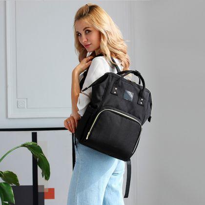 Сумка-рюкзак для мамы c USB 2018, черный, 27 x 19 x 42,5 см