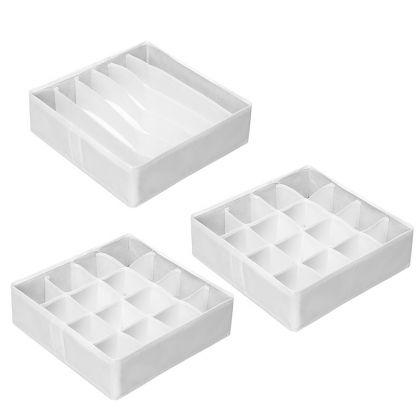 Комплект из 3 органайзеров для белья «White», 31 x 31 x 11 см