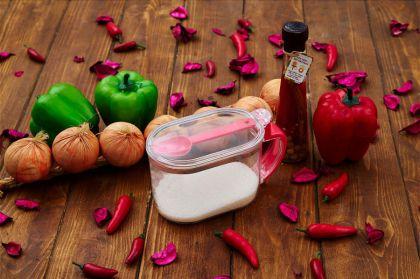 Банка для хранения сыпучих продуктов с ложкой, 0,65 л, розовый, 16 × 9 × 10 см