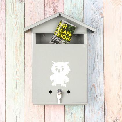 Почтовый ящик с замком-щеколдой в виде домика, серый, 36 х 28 х 5 см