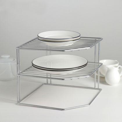 Трехъярусная подставка для посуды, хром, 25 х 25 х 19,5 см