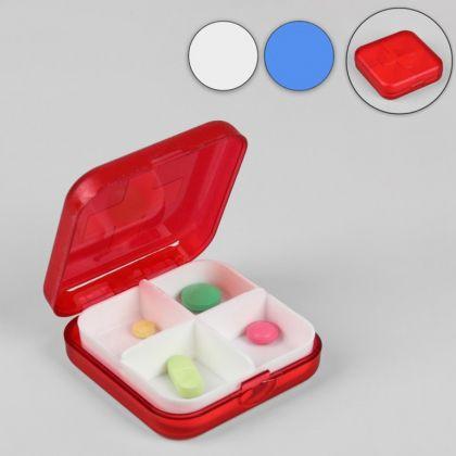 Органайзер для таблеток на 4 ячейки, 6,3 х 6,3 х 2 см