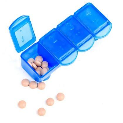 Органайзер для медикаментов, 4 ячейки, синий
