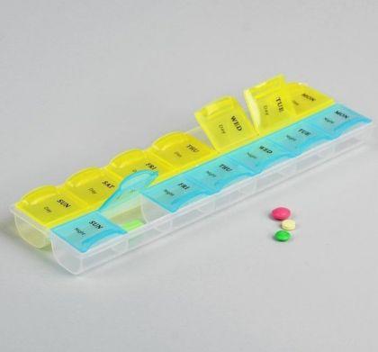 Органайзер для таблеток на неделю 2 приема, 17,5 х 5,5 см