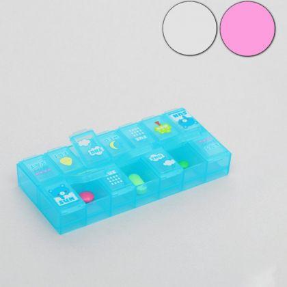 Органайзер для таблеток на 2 приема с рисунками, 6 х 13 х 2 см