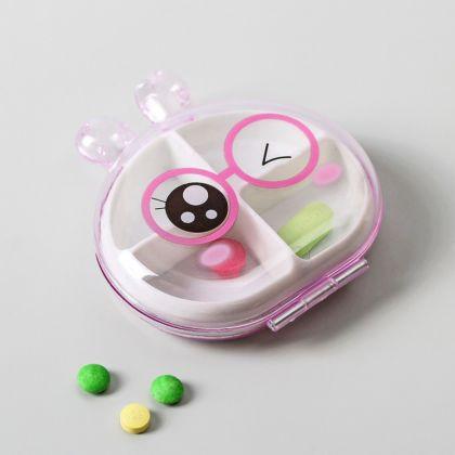 Органайзер для лекарств на 4 отдела Зверьки, разные цвета
