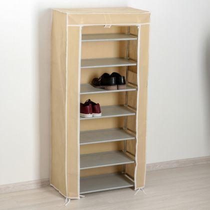 Тканевый шкаф для обуви 7 ярусов, бежевый, 60 x 30 x 120 см