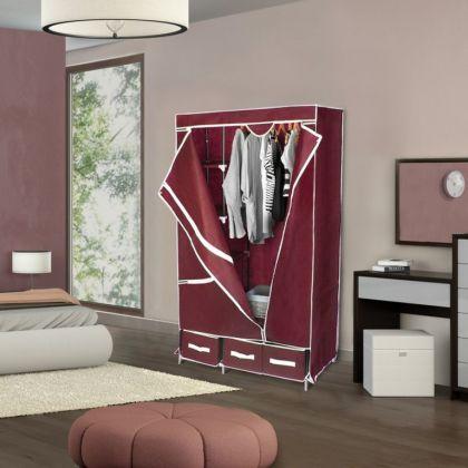 Тканевый шкаф, бордовый, 95 x 45 x 165 см