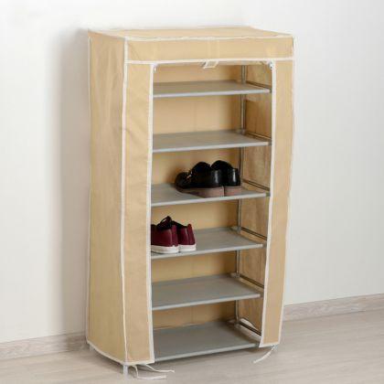 Тканевый шкаф для обуви Монтана бежевый, 60×28×105 см