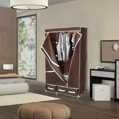 Тканевый шкаф на 3 ящика, кофейный, 95 x 45 x 165 см