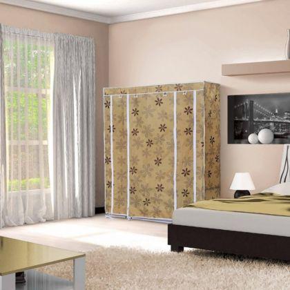 Тканевый шкаф для одежды Маджорити бежевый цветок, 130 х 45 х 175 см