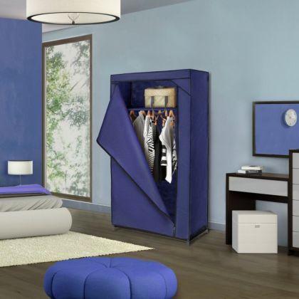 Тканевый шкаф для одежды, темно-синий, 75 х 46 х 160 см