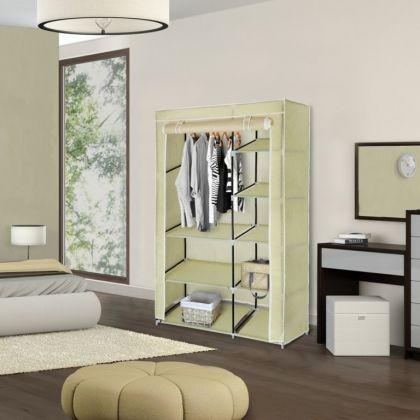 Тканевый шкаф для одежды, бежевый, 100 х 50 х 170 см