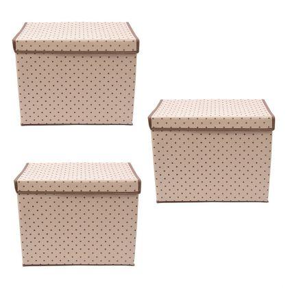 Комплект из трех коробок для хранения вещей с крышкой «Горох», 38 x 25 x 30 см