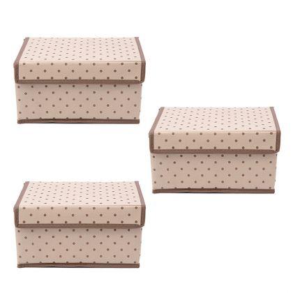 Комплект из трех коробок для хранения вещей с крышкой «Горох», 25 x 19 x 13 см