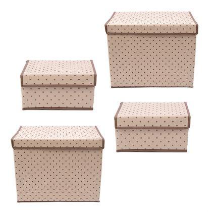 Комплект из четырех коробок для хранения «Горох», 38 x 25 x 30 см, 25 x 19 x 13 см